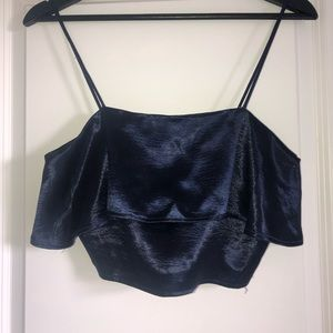 Urban Outfitters Satin Ruffle Cropped Cami